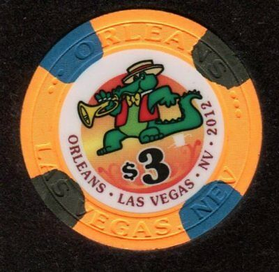 $3 Las Vegas Orleans Poker Room Casino Drop Chip - Uncirculated
