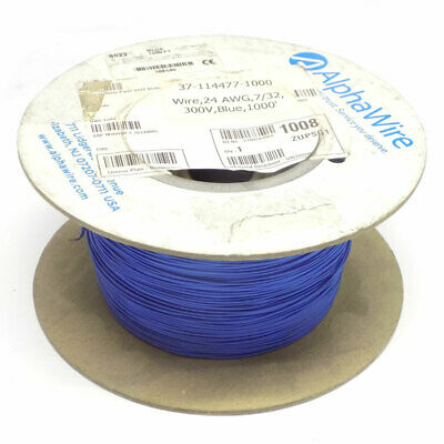(897 Ft.) Spool of AlphaWire 6822 Blue 24 AWG 7/32 Stranding 300V PTFE Wire