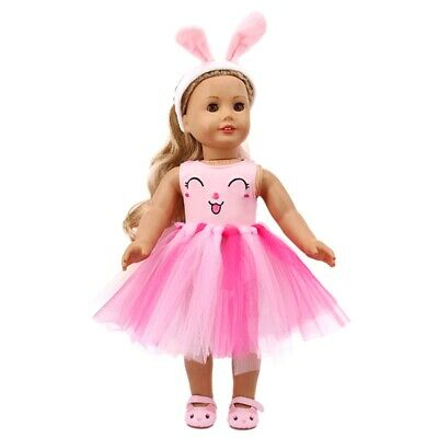 Cute Dolls Skirt Girls Toys Set Bunny Headband + Skirt + Top for 18 Inch Dolls