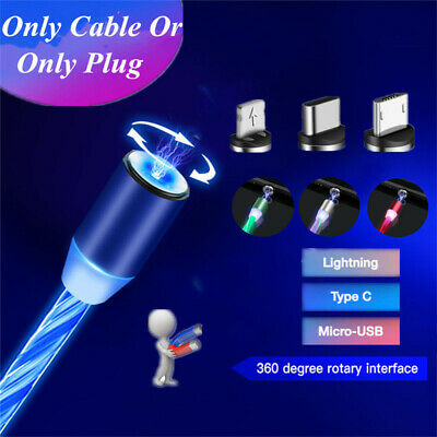 Magnetic USB Cable For iPhone Samsung Type C & Phone Charger Flowing Light Cable