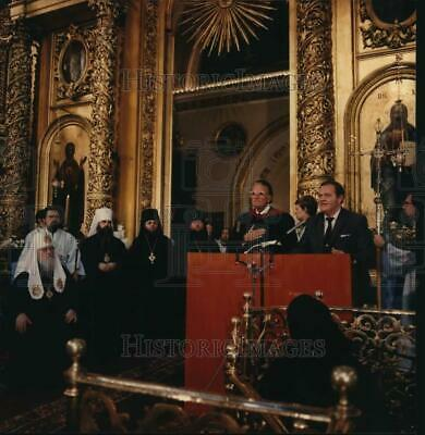 1990 Press Photo Evangelist Billy Graham at Patriarchal Cathedral in Moscow.