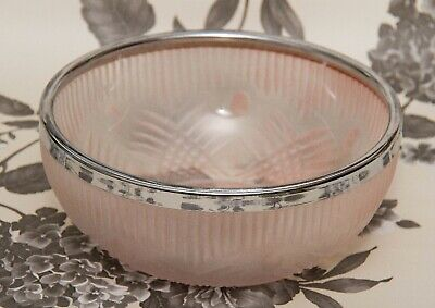 Art Deco Frosted Pink Glass bowl silver rim large glass vintage dish