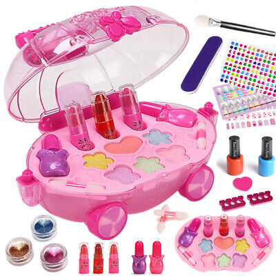 Washable Pretend Kids Make Up Gifts Set NON-TOXIC Makeup Shell Case Toys Girls