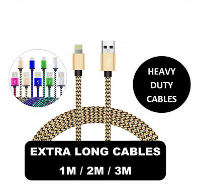 Heavy Duty Lightning Cable for iPhone 6 7 8 Plus X Xs XR Charger Charging Lead