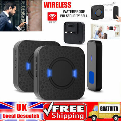 UK Wireless Doorbell Teck Net Wall Plug-In Cordless Door Chime Kit Waterproof