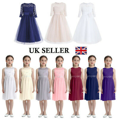 UK_Lace Kids Princess Dress Party Wedding Gown Prom Bridesmaid Flower Girl Dress