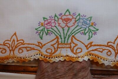 Vintage Cotton Pillowcases Fab Hand Embroidered Posies and Crochet 21x32