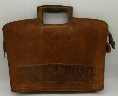 Antique Leather Briefcase Egyptian Hieroglyphic Tooled Attache Messenger RARE