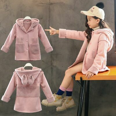 Toddler Baby Girl Winter Warm Coat Faux Fur Hooded Outerwear Jacket Kids Clothes