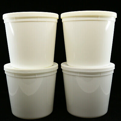 Set of 4 Plain White Plastic Storage Quart??? Tubs Microwarve & Dishwasher Safe