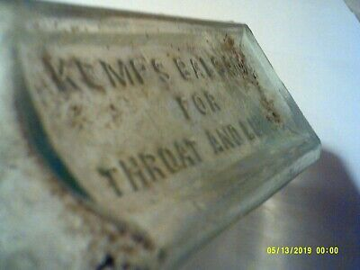 """Antique Kemp""""S Balsam For Throat And Lungs O.f. Woodward Le Roy N.y. Bottle"""