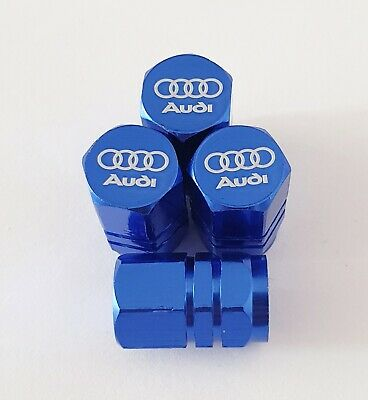 AUDI Laser Wheel Valve Dust caps all models BLUE S LINE RS S5 S3 RS3 RS4 RS5 RS6
