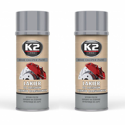 2x K2 BREMSSATTELLACK SPRAY 400ML BRAKE CALIPER PAINT SILBER