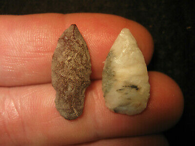 2 Authentic West Texas Flint Bird Point Arrowheads, Ancient Indian Artifacts #37