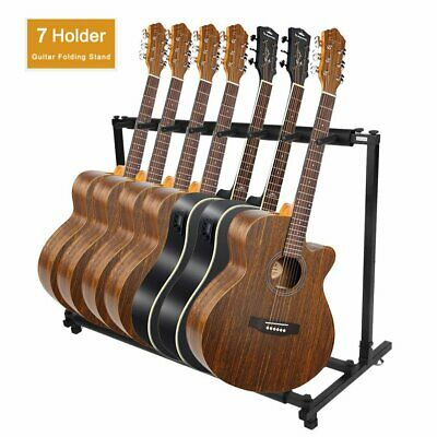 Black 7 Way Multi Guitar Rack Stand Padded Electric Acoustic Bass Holder New