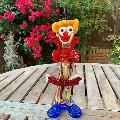Vintage Murano Hand Blown Art Glass Clown Figurine Italy Colorful Paperweight