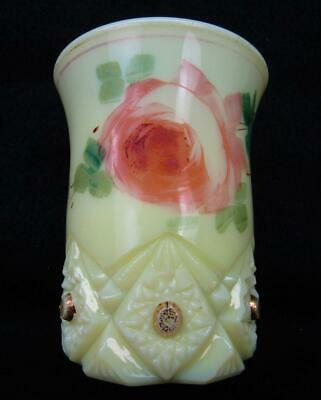 "Jefferson DIAMOND & PEG ""Krys-ToL"" Custard Glass Hand-Painted Tumbler 6794"