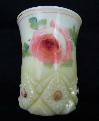 "Jefferson DIAMOND & PEG ""Krys-ToL"" Custard Glass Hand-Painted Tumbler 6795"