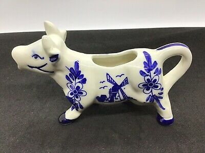 Vintage Delft Blue Cow Creamer Cobalt Blue/White Windmill and Flowers Cow creame
