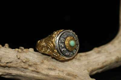 Antique antique inlaid copper nine palace gossip ring inlaid with rings