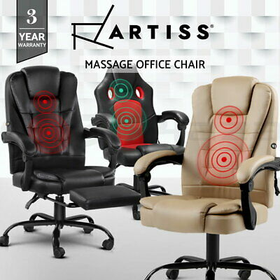 Artiss Massage Office Chair PU Leather Recliner Computer Gaming Chairs Seating