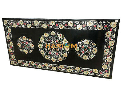 7'x4' Marble Black Dining Table Top Golden Mother Of Pearl Floral Inlaid E1352