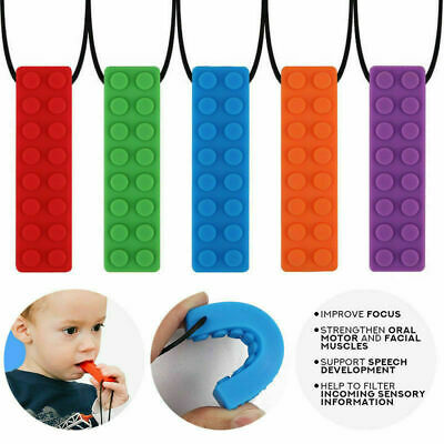 1x Silicone Sensory Chew Necklace Brick Chewy Kids Autism Biting Pencil Topper