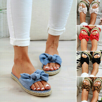 Womens Slip On Sandals Fashion Bow Flat Mules Espadrille Sliders Shoes Size 2-8