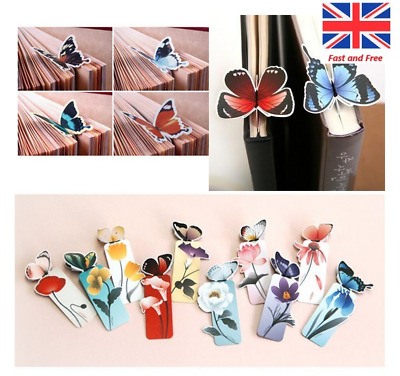 4pcs New Butterfly On Flower Bookmarks Shape Exquisite Book Markers Readers Gift