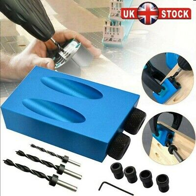 Pocket Hole Jig Kit 15° Angle 6/8/10mm Adapter Drill Guide Woodworking Tool
