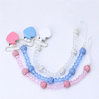 Baby Soother Leash Strap Crystal Chain Bling Nipple Heart Pacifier Clips YW