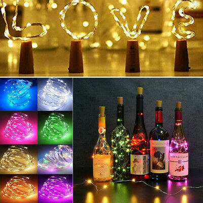 2m 20 LED Wine Bottle Fairy String Light Cork Starry Night Lamp Wedding  Xmas UK