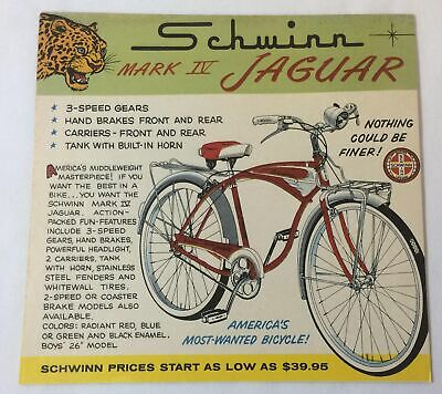 113ed30cc95 1959 Schwinn bicycle cartoon ad ~ MARK IV JAGUAR Nothing Could Be Finer