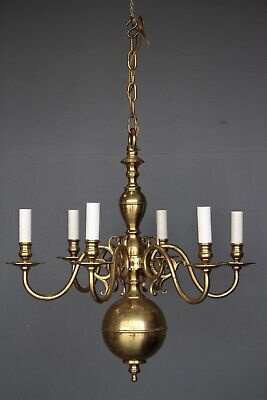 Antique polished brass French provincial chandelier large original vintage 1930
