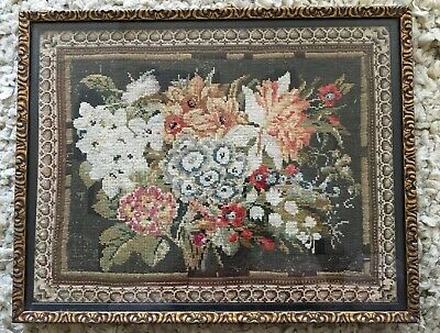 FANTASTIC Antique Old floral Picture Completed Tapestry Needlepoint