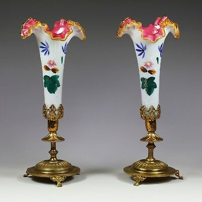 "11"" Pair Antique French white opaline overlay w pink glass Vase gilt ormolu base"