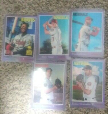 2019 Topps Heritage Purple Chrome Refractor lot (5) Trout Acuna Harper Kershaw +