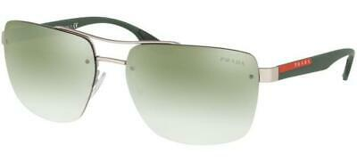 Prada Sport 60Us 60U/S 62 Qfp723 Silver Rubber Lenses Green Silver Shaded Sole