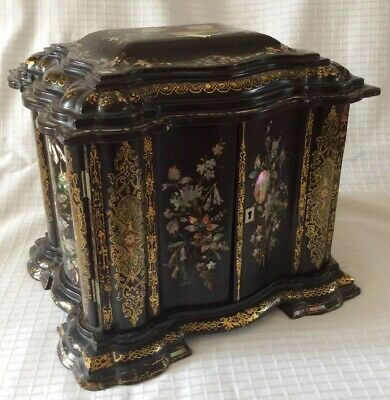 Antique 19thC Lacquer/Mother Of Pearl Sewing Box,Jewellery Box & Writing Slope.