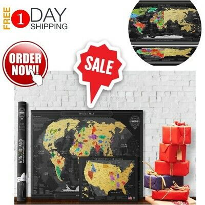 Deluxe Travel Edition Scratch Off World Map Poster Of The World + United States