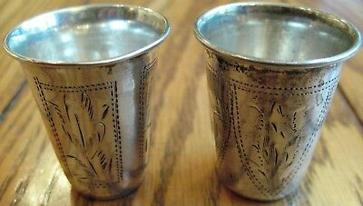 Lot Of 2 Russian Antique Solid Sterling Silver Beakers Zakhoder Shot Glasses