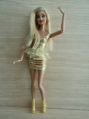 Barbie 100+Poses Fashionistas Doll with Glitter Hair In a Gold Dress and Shoes