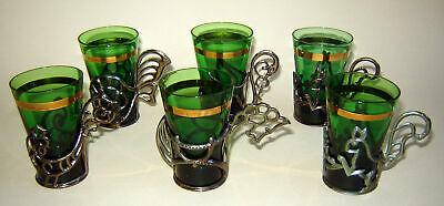 Set 6 Old VINTAGE Shot Green Glass Glasses Cups with diff metal holders animals