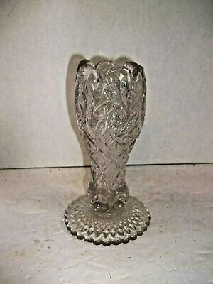 Antique EAPG Clear Glass TRUMPET  VASE Daisy Whirling Star Thumbprint Footed 8""