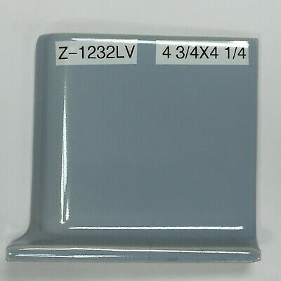 "Z-1232LV Vintage Ceramic 4 1/4"" Mosaic Tile Light Blue Glossy Left Corner Cove"