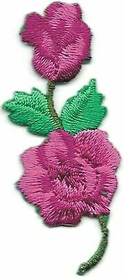 """2 1/8"""" Pink Fuchsia Rose Flower Embroidery Patch"""