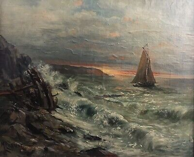 Antique French Impressionist Signed Oil - Boats At Sunset - Oil On Canvas Framed