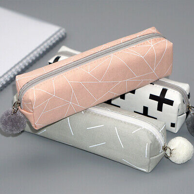 Zip Box Cosmetic Stationery Coin Purse Pencil Case Canvas Pen Bag Makeup Pouch