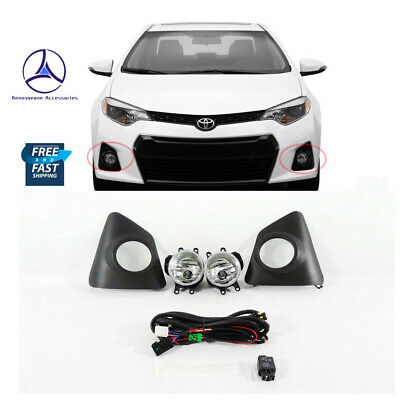 Fit 14-16 Toyota Corolla SE Clear Lens Fog Lights Lamps kit W/ Switch wiring
