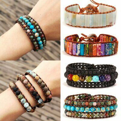 7 Chakra Natural Stone Crystal Tube Beads Bracelet Handmade Leather Wrap Bangle